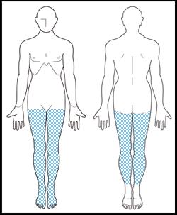 両足の指、両足の甲、両ひざ周り、両ひざ下、両太もも イメージ
